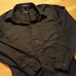 EUC GEOFFREY BEENE Black Fitted Sateen Long Sleeve